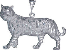 Sterling Silver Tiger Pendant Necklace Diamond Cut Finish 3.24 Inches 41 Grams