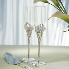 Silver Calla Lily Wedding Toasting Flutes Cake Knife Serving Set Q16624
