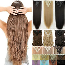 Thick 8 Pieces Full Head Clip in As Human Hair Extensions Long Blonde Black USA