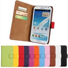 Genuine Leather Wallet Case Cover Protector For Samsung Galaxy Note II 2 N7100