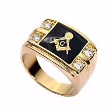 MEN'S FREE MASON STAINLESS STEEL SIGNET RING - 18 KARAT GOLD PLATED- 4 CRYSTALS
