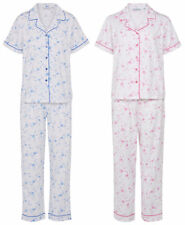 Ladies Slenderella Floral Pyjamas Button Up Short Sleeve Top Trouser Bottoms Set