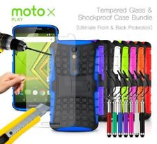 Motorola DROID MAXX 2 Verizon Shockproof Grip Case Cover,Ret Pen &Tempered GLASS