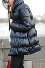 ZARA WOMEN AW15 BLACK QUILTED COAT WITH WRAPAROUND COLLAR PUFFER BLACK 0518/254
