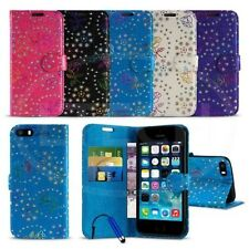 Apple iPhone 5C - Textured Diamond Flower Wallet Case Cover w/ SP & Mini Stylus