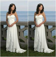 Romantic Sweetheart Beach Wedding Dress Chiffon. HANDMADE.