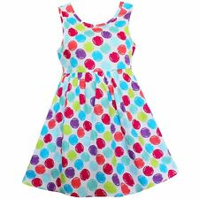 Girls Dress Colorful Dot Print Cotton Party Birthday Princess Children Clothes
