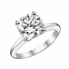 CZ Cubic Zirconia Solitaire engagement cushion ring 14K Solid White Gold