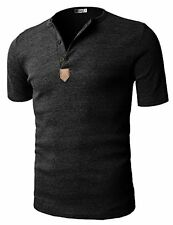 H2H Mens Casual Henley Slim fit Short Sleeve T-shirts - Choose SZ/Color