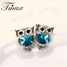 Owl Stud Earrings Cute Colors Fashion Jewelry White Gold Plated Trendy