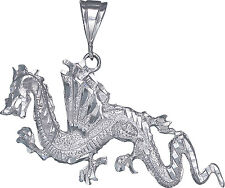 Large Sterling Silver Dragon Charm Pendant Necklace with Diamond Cut Finish