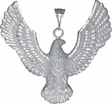 Sterling Silver Huge Eagle Charm Pendant Necklace Diamond Cut Finish with Chain