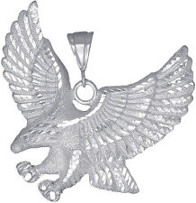 Sterling Silver Eagle Charm Pendant Necklace Diamond Cut Finish 2.5 Inch 21 Gram