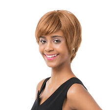 Women's Short Straight Oblique Bangs Human Hair Party Cosplay Full Wig Hot Sale