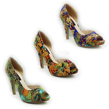 WOMENS LADIES PLATFORM HIGH HEEL PEEP TOE FLORAL COURT SHOES SANDALS SIZE 3-8