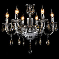 Modern Luxury Chandelier Polished Chrome 6-Light Crystal Ceiling Lamp Pendant