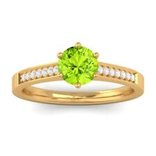 Green Peridot EF VVS Diamond Gemstone Engagement Ring Women 14K Yellow Gold