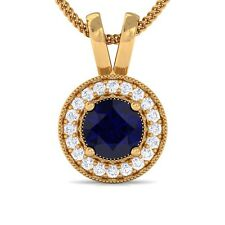 Blue Sapphire EF VVS Diamond Round Halo Gemstone Pendant Women 14K Yellow Gold