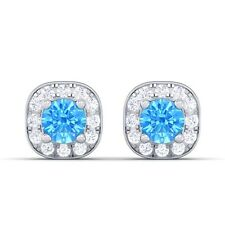 Blue Topaz FG VVS Diamond Gemstone Halo Stud Earrings Women 18K White Gold