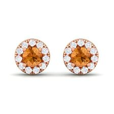 Orange Citrine GH VVS Diamond Gemstone Womens Halo Stud Earring 14K Rose Gold