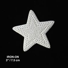 White Sequin Star Iron-on Patch Emblem Celestial Badge Cool Skirt Applique