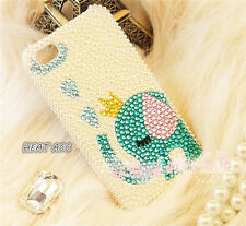26#PEARL DIAMOND ELEPHANT Handmade Bling Crystal Pearl iPhone 5/5S/SE CASE COVER
