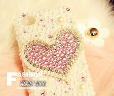 30#PEARL DIAMOND HEART Handmade Bling Crystal Pearl iPhone 5/5S/SE CASE COVER