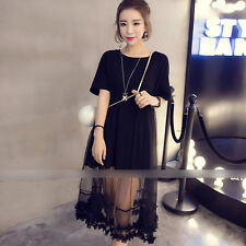 Women's Korean Style Lace Bottom Pure Color Round Neck Sexy Short Sleeve Dress