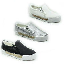 NEW WOMENS LADIES FLAT SLIP ON CHUNKY SOLE PUMPS ESPADRILLES HIGH SHOES SIZE 3-8
