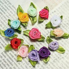 100Pcs Ribbon Rose DIY Wedding Flower Satin Decor Bow Appliques Craft Sewing