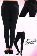 NEW WOMENS PLAIN STRETCH CASUAL TROUSERS LADIES ELASTICATED LONG LEGGINGS PANTS
