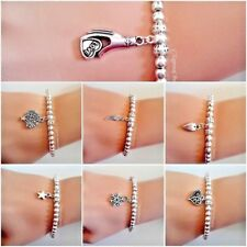 6 Silver Plated Beads Bracelet with various design charm, Stretchable Bracelet