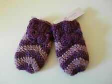 BNWT MONSOON BABY GIRL PURPLE PINK STRIPED KNITTED BOW MITTENS SIZE 0-12 MONTHS