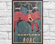 Scotland Travel poster Travel print Vintage Wood print Kilt Wood wall art decor
