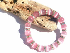 10mm PINK CATS EYE GLASS BEADED SILVER STRETCH CHARM BRACELETS MIXED SIZES CHARM