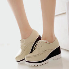 Retro Hole Strap High Heels Platform Pumps Oxfords Wedge Heel Lace Up Shoes