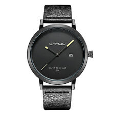 Mens Fashion Leather Stainless Steel Quartz Military Sport Date Dial Wrist Watch