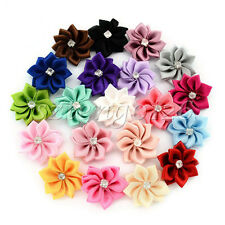 20pcs Satin Ribbon Flower Bows Rhinestone Appliques Wedding Sewing 20 colours