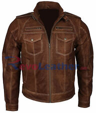 Suede Brown Vintage Fashion Designer Motorcycle Bomber Biker Mens Leather Jacket