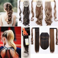 """US 100% Real New Clip In human Hair Extension Pony Tail Wrap Around Ponytail 24"""""""