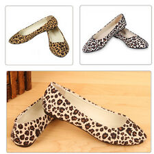 Womens Ballet Flats Ballerina Leopard Casual Slip On Shoes Ladies Faux Leather