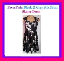 New FEVER FISH Black Floral RETRO Skater PARTY Dress PLUS SIZE 14 16 18 yours BE