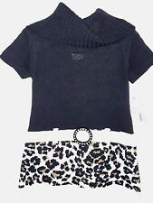 FADED GLORY - Girls Size XS 4-5 Premium Dress Black/White/Leopard Print