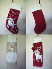 Baby's 1st First Christmas Gift Bag Sack XMas Stocking - Reindeer & Bear Design