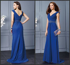 Royal Blue Long Evening Formal Dresses V Neck Bridesmaid Party prom Gowns HD265