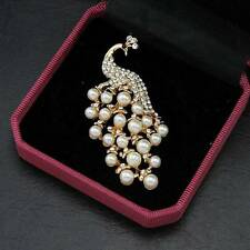 18k Plated White Peacock Brooch Imitation Pearl Brooch Pin Fashion Jewelry Sale