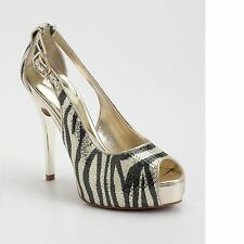 New Women's GUESS Hondola Gold Zebra & Tiger Print Peep-toe Platform Pumps