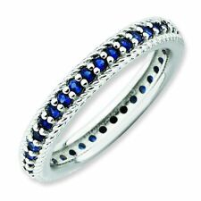 Sapphire Elaborate Eternity Band Sterling Silver Stackable Ring