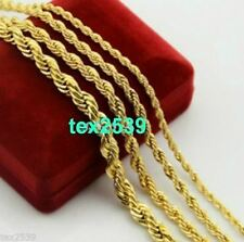 """Gold plated Rope 18K Chain Necklace 18"""" to  24"""",& 2, 3, 6, mm LIFETIME WARRANTY."""
