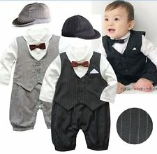 Baby Boy Wedding Christening Dressy Tuxedo Suit Outfits+HAT Set NEWBORN 0-12M